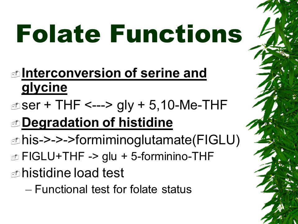 Folate Functions Interconversion of serine and glycine