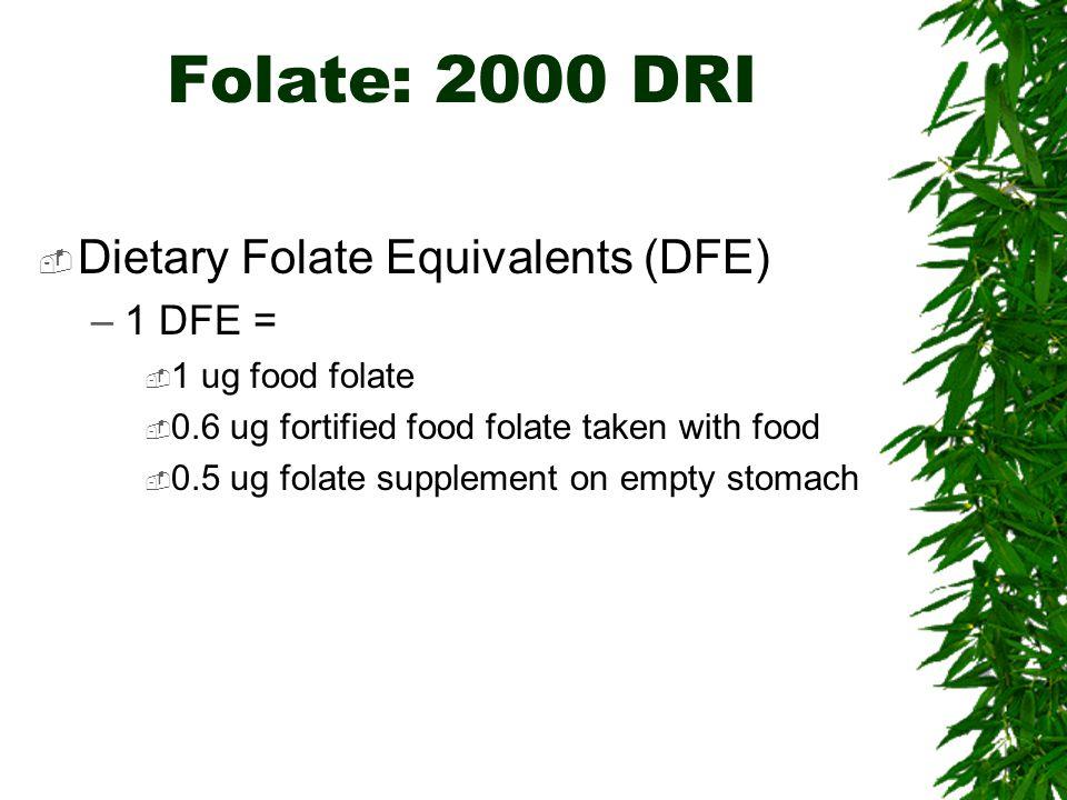 Folate: 2000 DRI Dietary Folate Equivalents (DFE) 1 DFE =