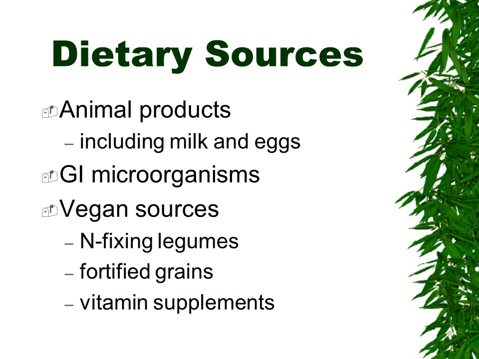 Dietary Sources Animal products GI microorganisms Vegan sources