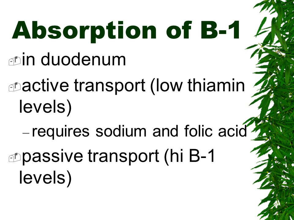 Absorption of B-1 in duodenum active transport (low thiamin levels)