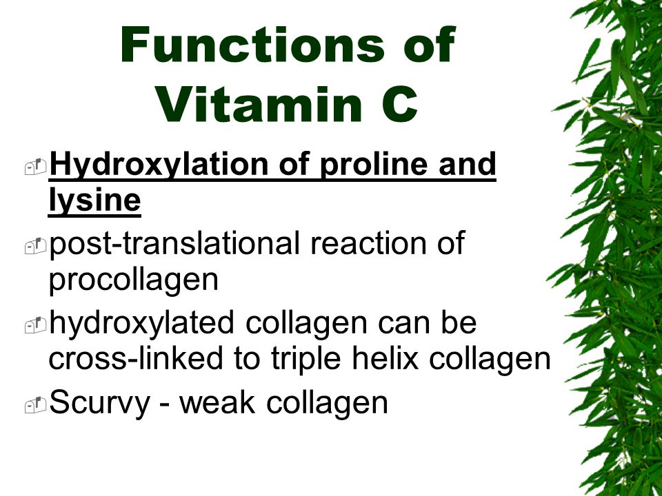 Functions of Vitamin C Hydroxylation of proline and lysine