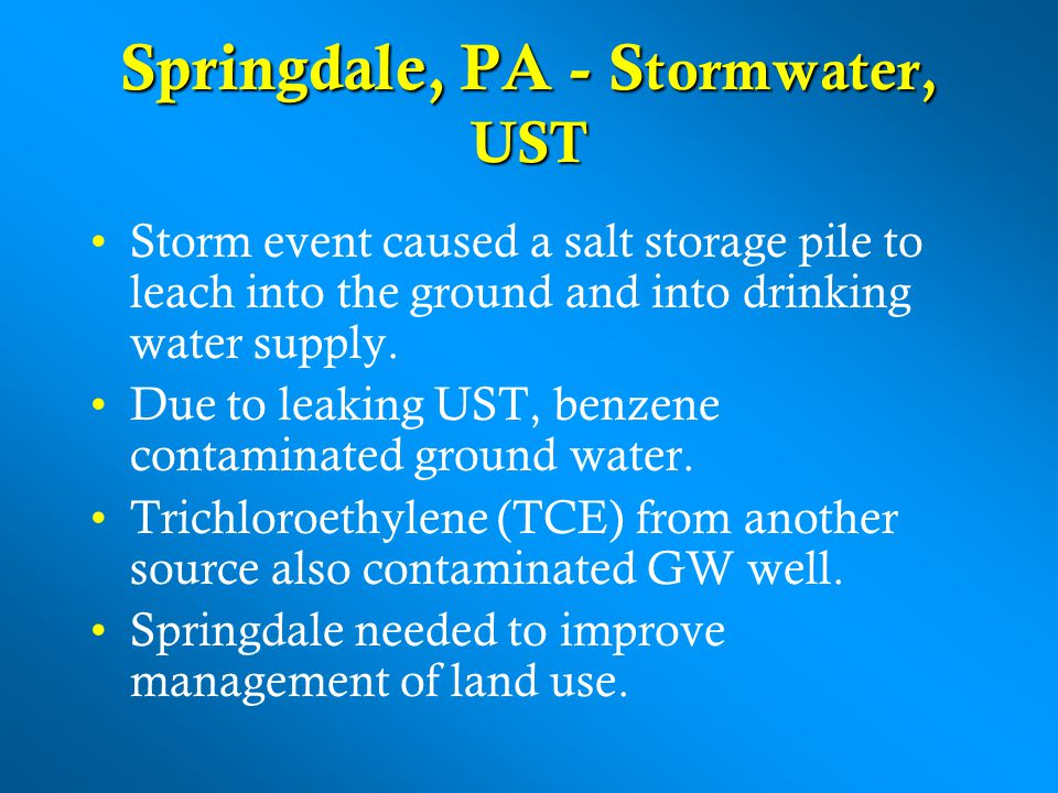 Springdale, PA - Stormwater, UST
