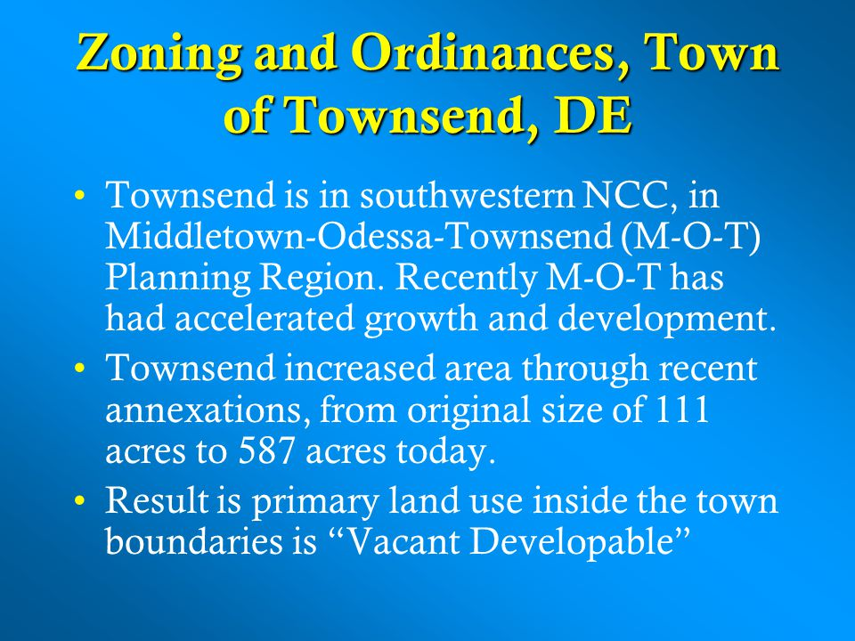 Zoning and Ordinances, Town of Townsend, DE