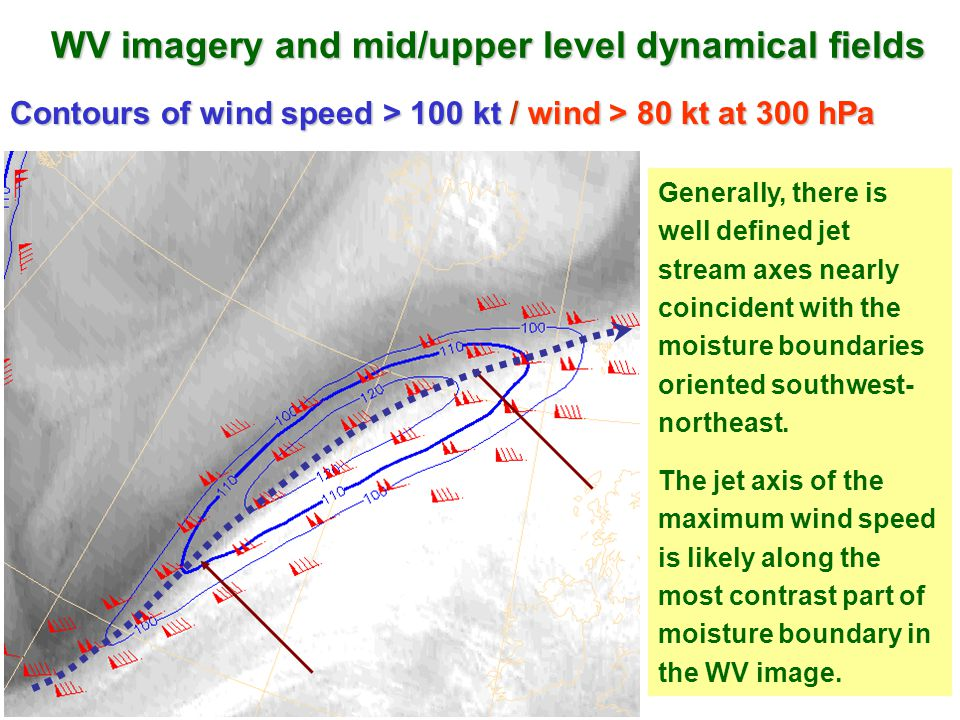 WV imagery and mid/upper level dynamical fields