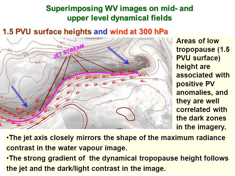 Superimposing WV images on mid- and upper level dynamical fields