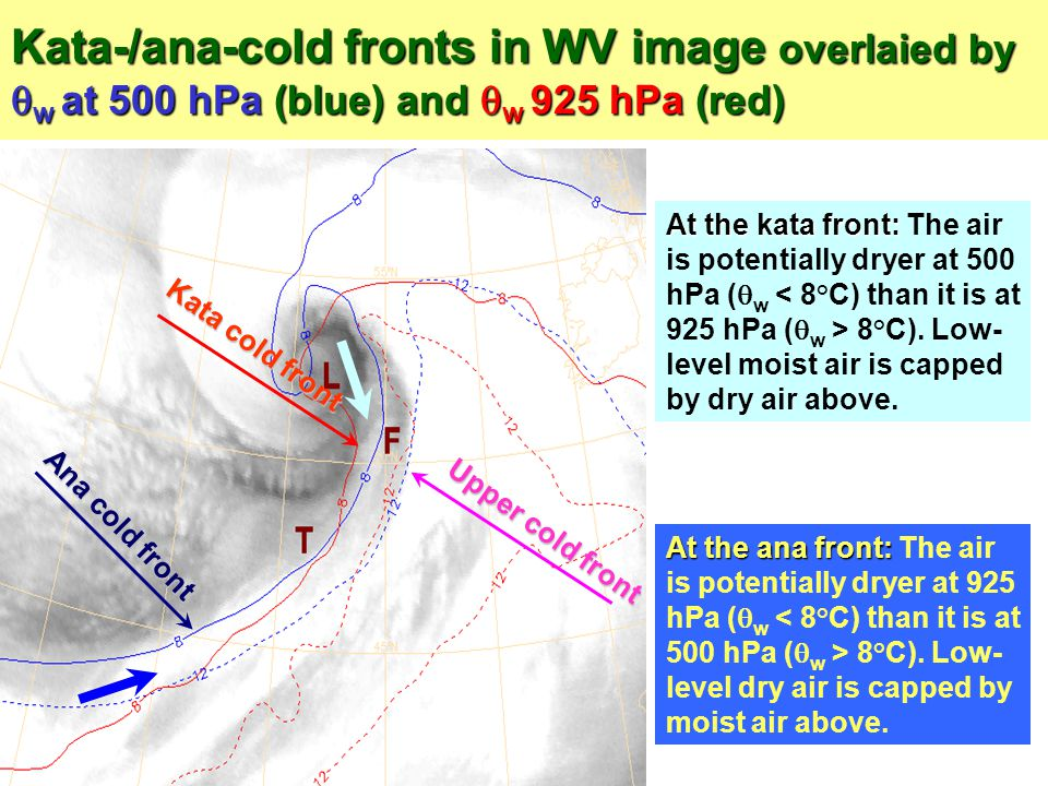 Kata-/ana-cold fronts in WV image overlaied by w at 500 hPa (blue) and w 925 hPa (red)