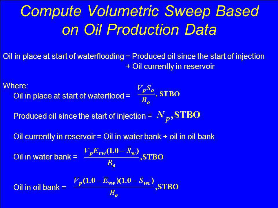 Compute Volumetric Sweep Based on Oil Production Data