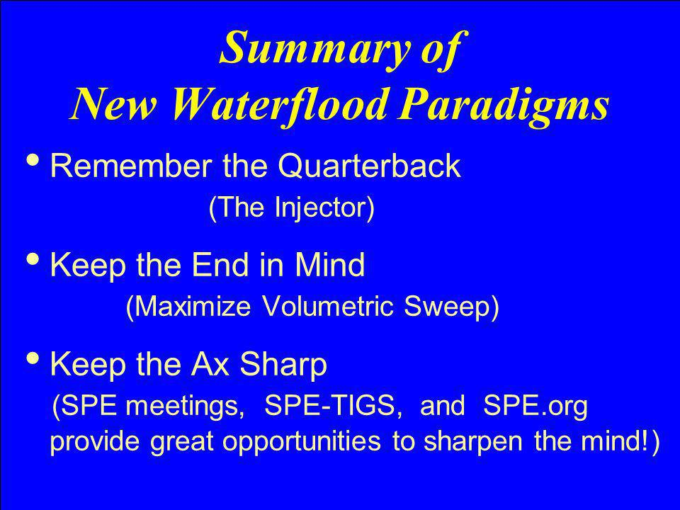 Summary of New Waterflood Paradigms