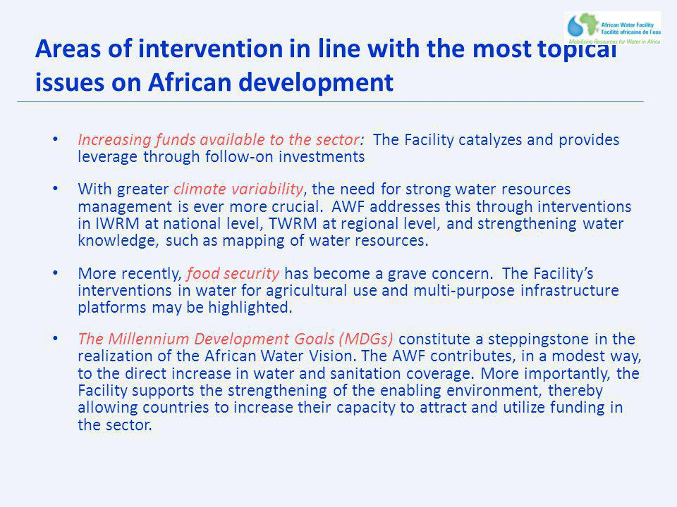 Areas of intervention in line with the most topical issues on African development