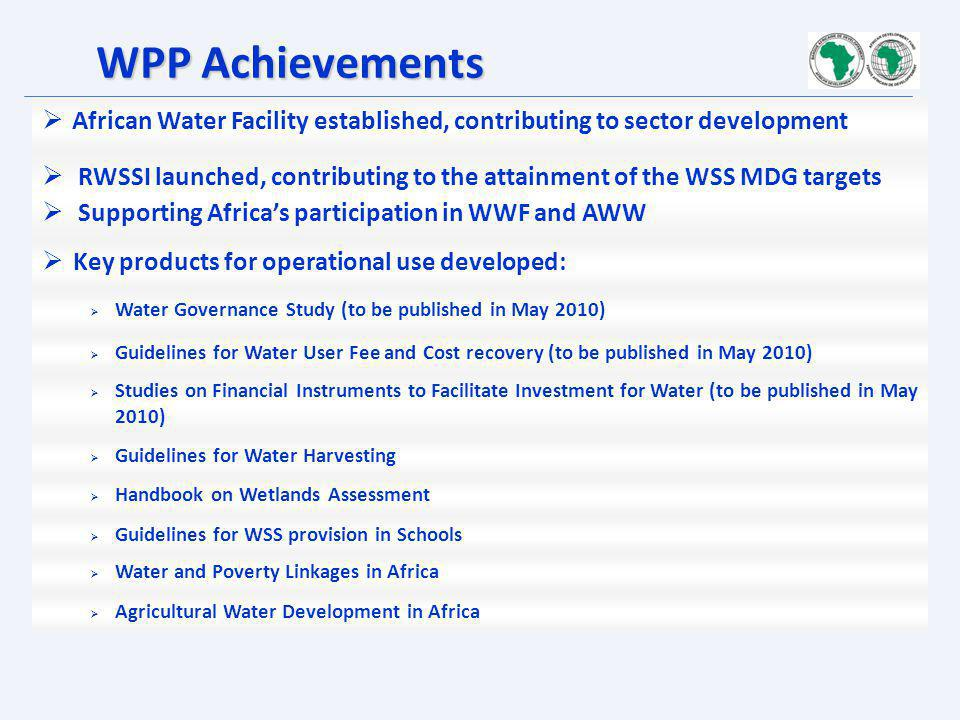 WPP Achievements African Water Facility established, contributing to sector development.