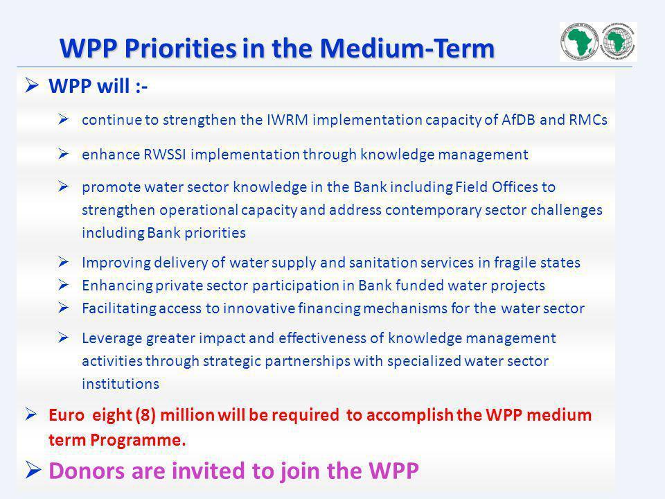 WPP Priorities in the Medium-Term
