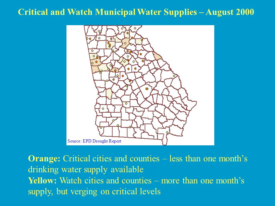 Critical and Watch Municipal Water Supplies – August 2000