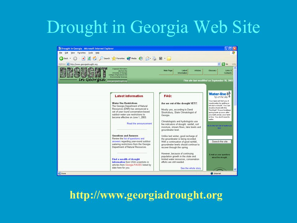 Drought in Georgia Web Site