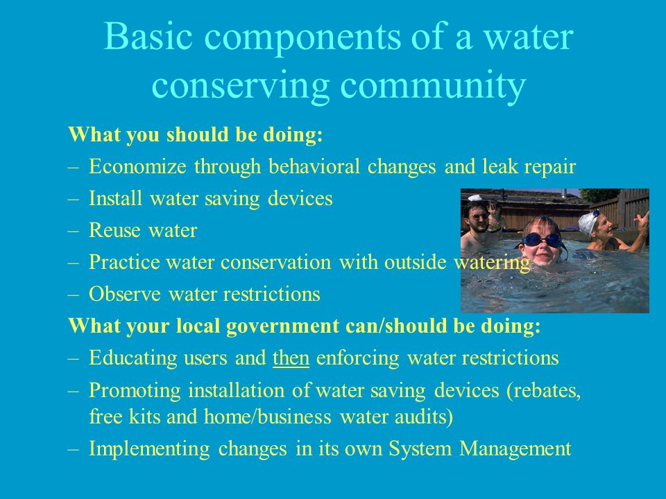 Basic components of a water conserving community