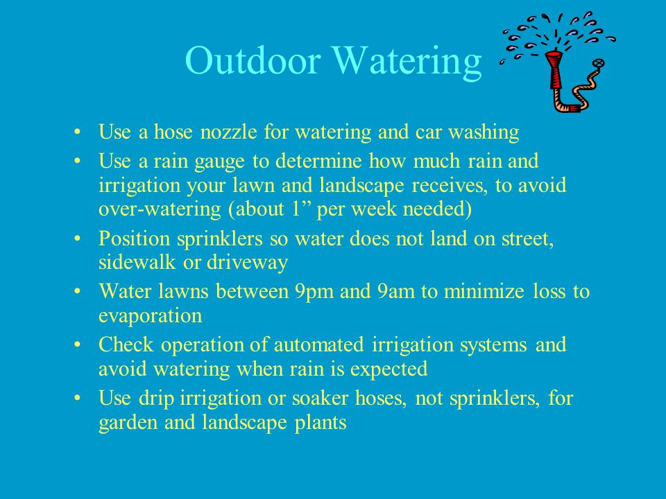 Outdoor Watering Use a hose nozzle for watering and car washing