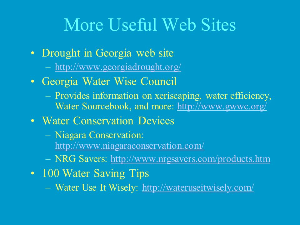 More Useful Web Sites Drought in Georgia web site