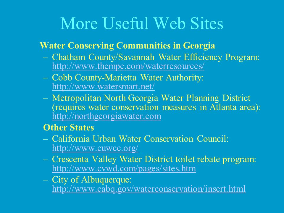More Useful Web Sites Water Conserving Communities in Georgia