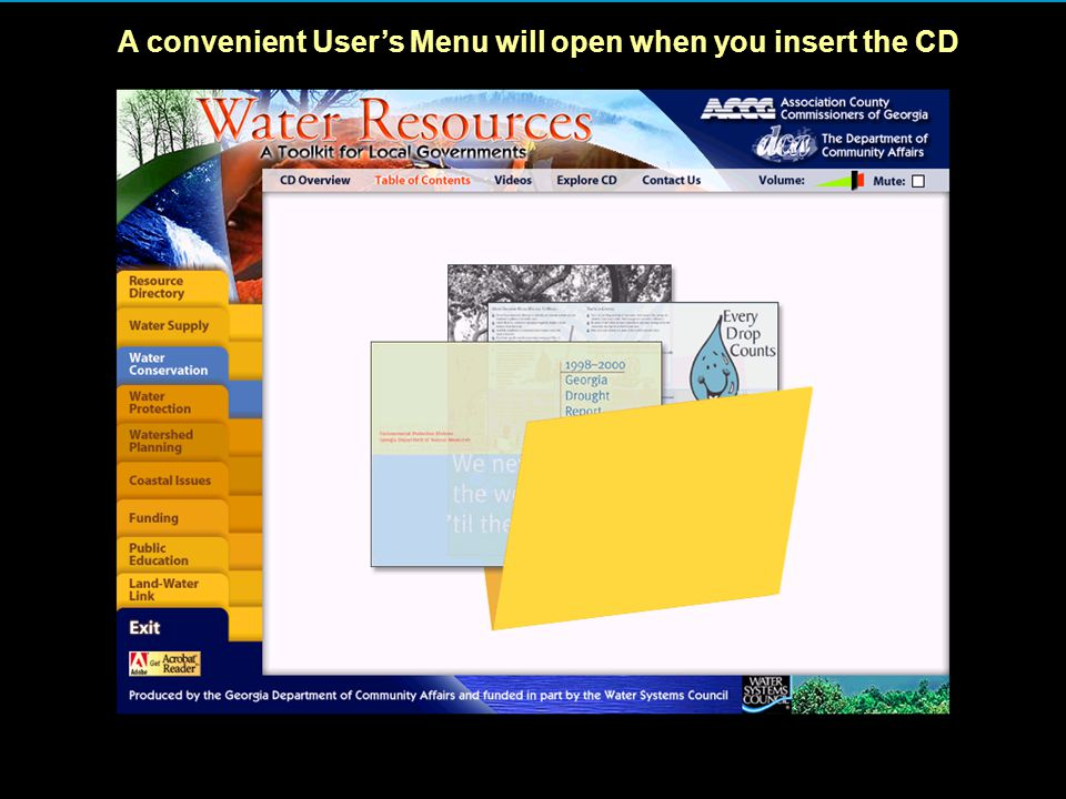 A convenient User's Menu will open when you insert the CD