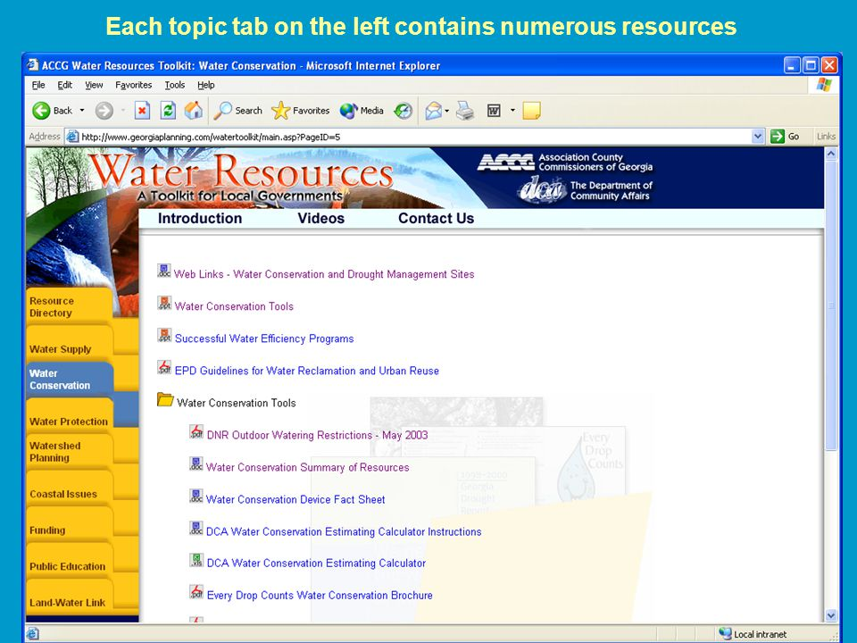 Each topic tab on the left contains numerous resources