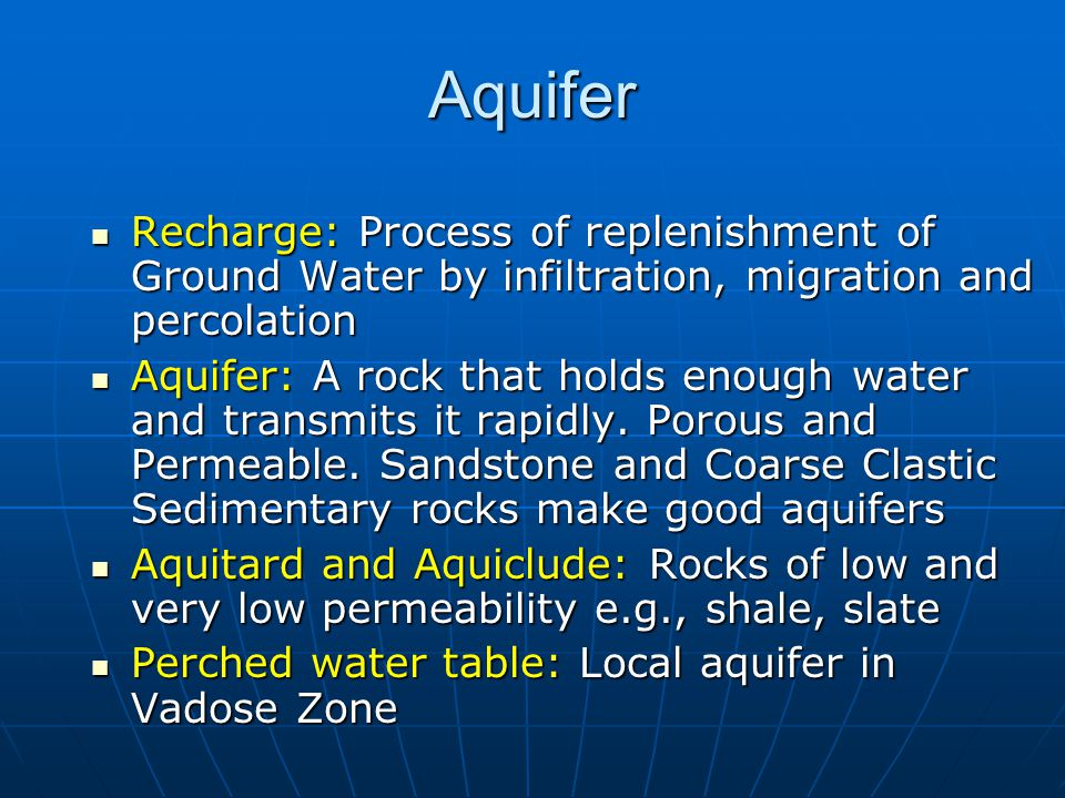 Aquifer Recharge: Process of replenishment of Ground Water by infiltration, migration and percolation.