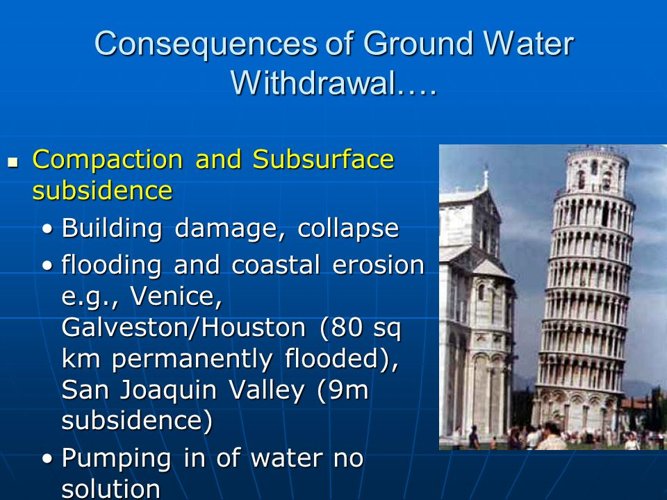 Consequences of Ground Water Withdrawal….