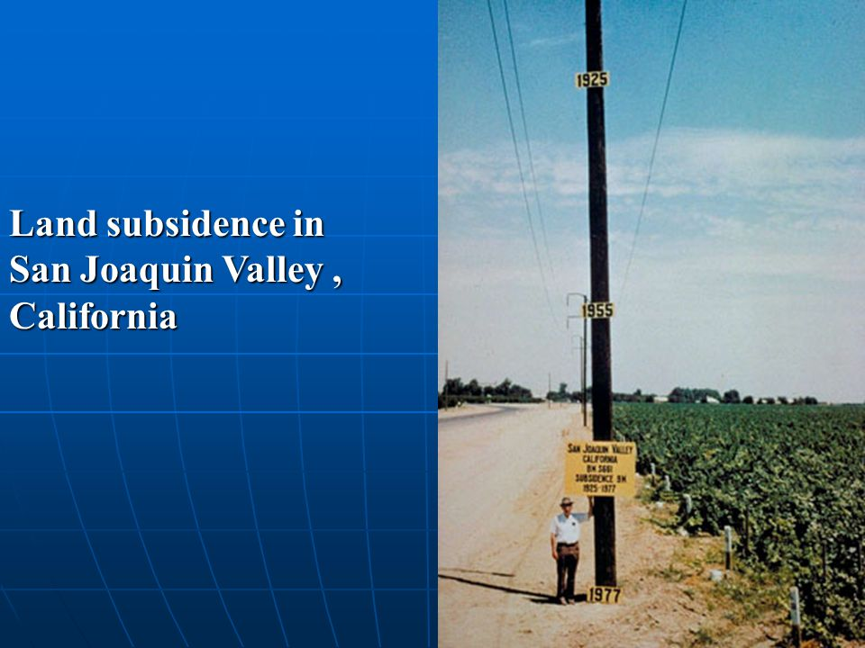 Land subsidence in San Joaquin Valley , California