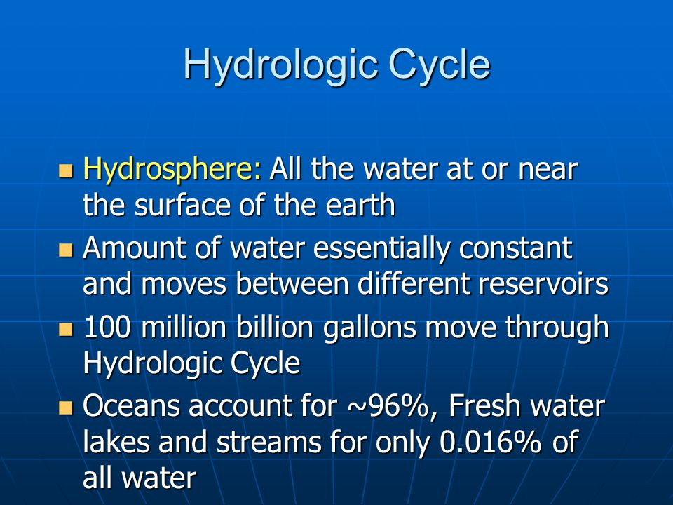 Hydrologic Cycle Hydrosphere: All the water at or near the surface of the earth.