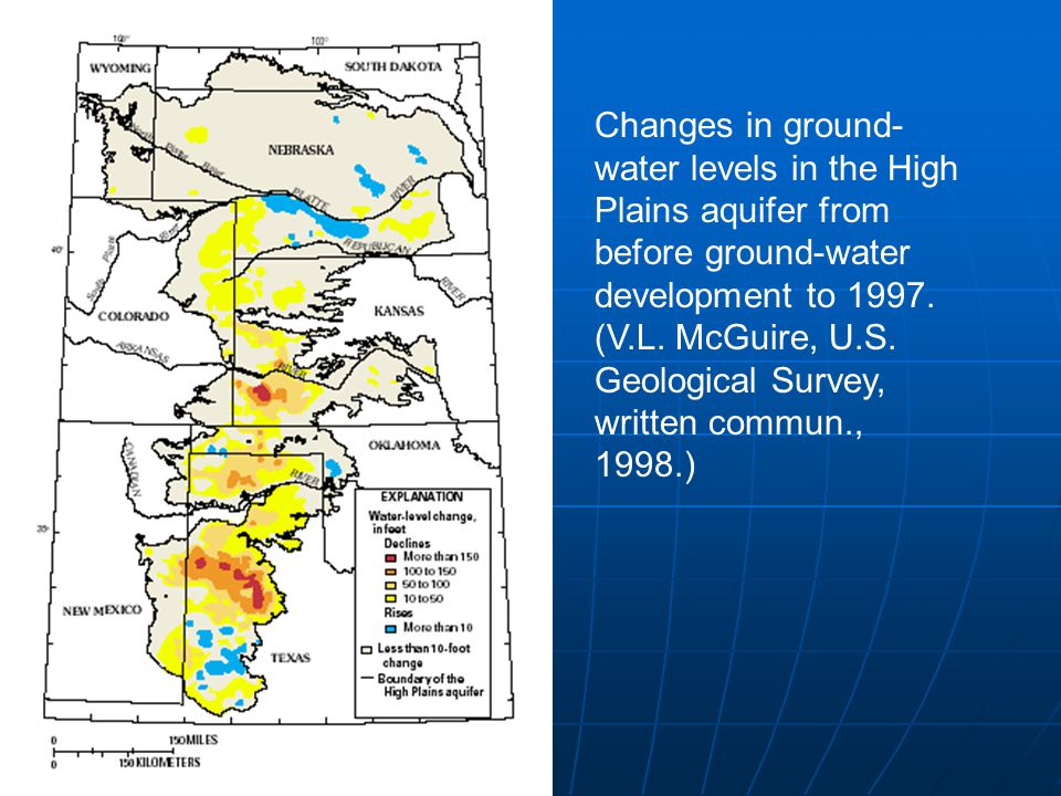 Changes in ground-water levels in the High Plains aquifer from before ground-water development to 1997.