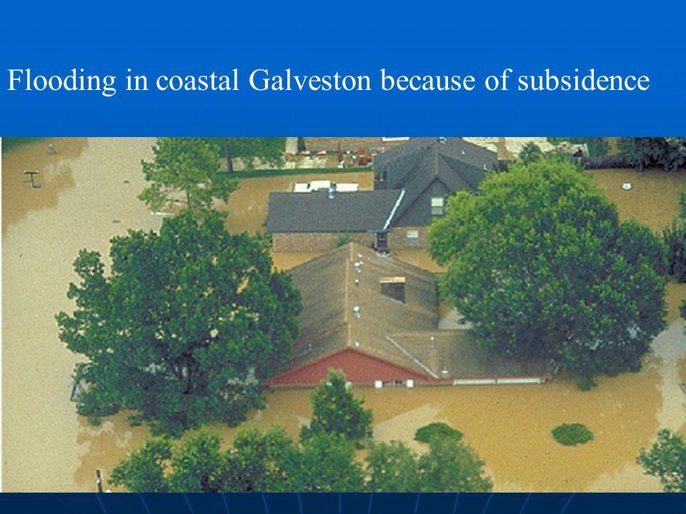 Flooding in coastal Galveston because of subsidence
