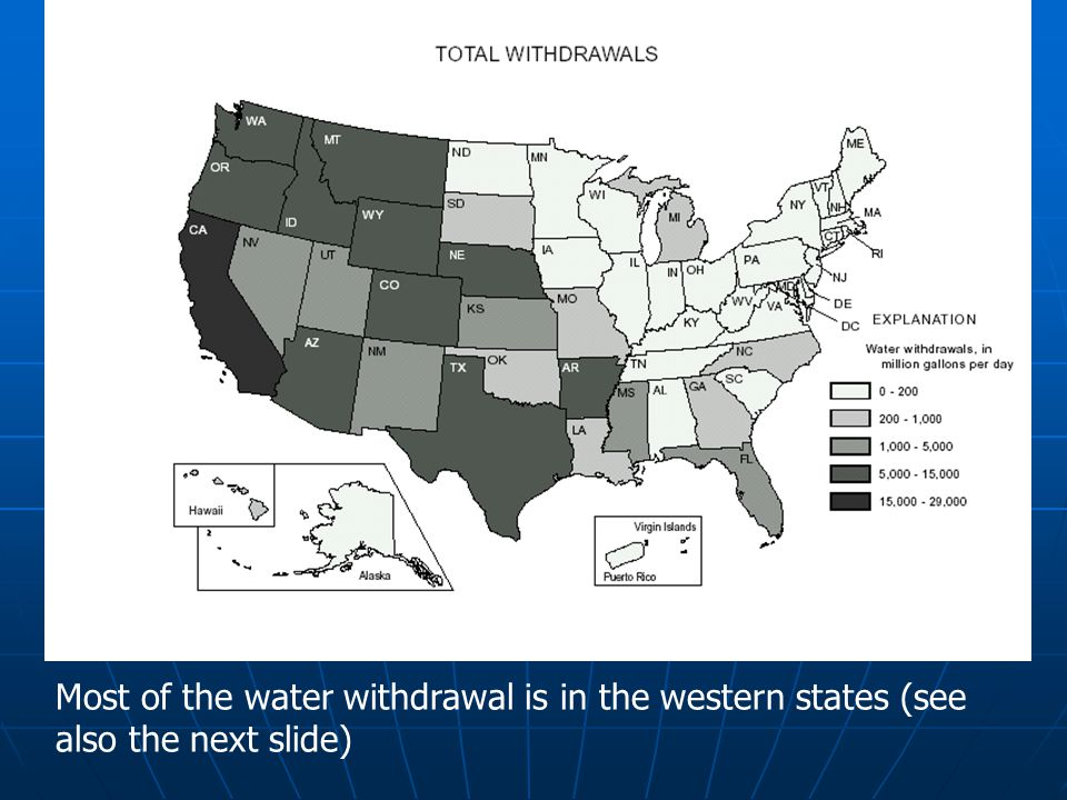 Most of the water withdrawal is in the western states (see also the next slide)