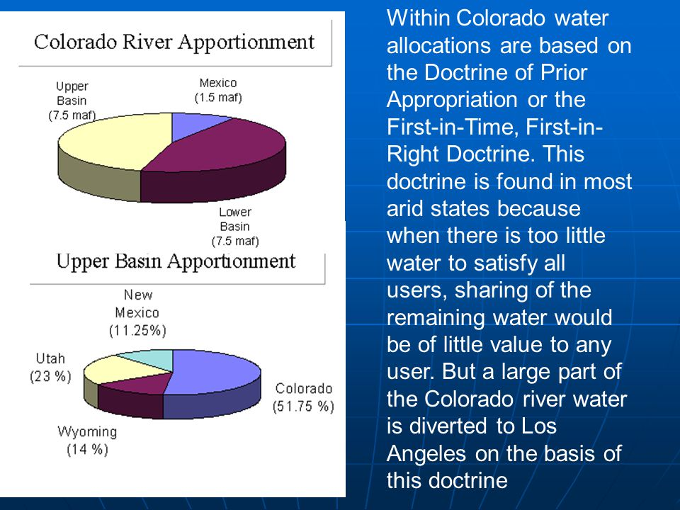 Within Colorado water allocations are based on the Doctrine of Prior Appropriation or the First-in-Time, First-in-Right Doctrine.