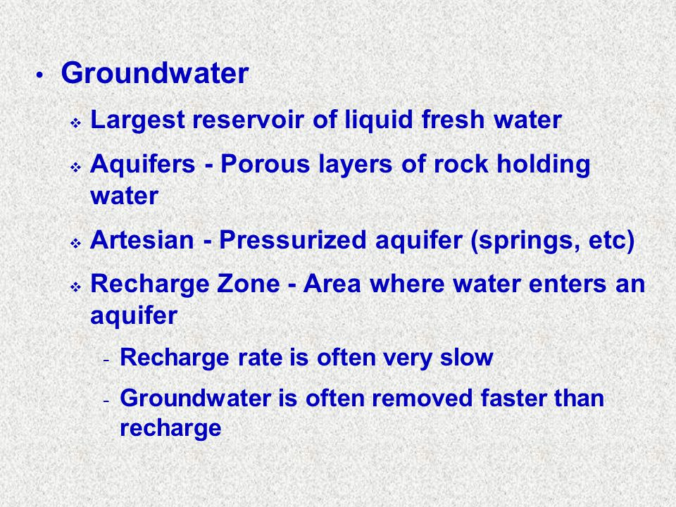 Groundwater Largest reservoir of liquid fresh water