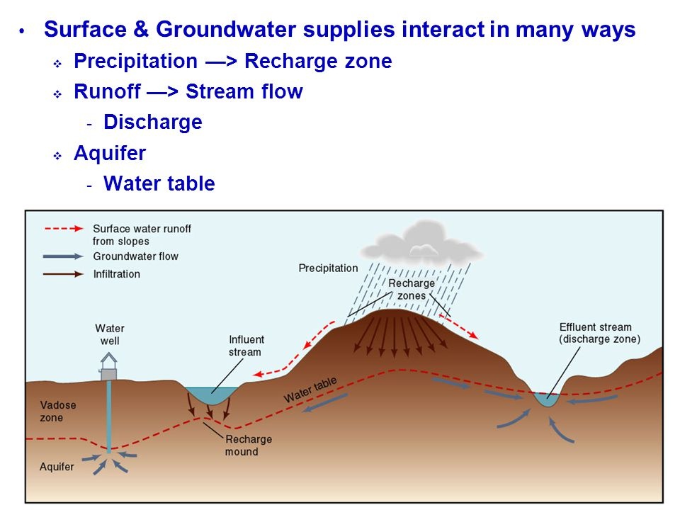 Surface & Groundwater supplies interact in many ways