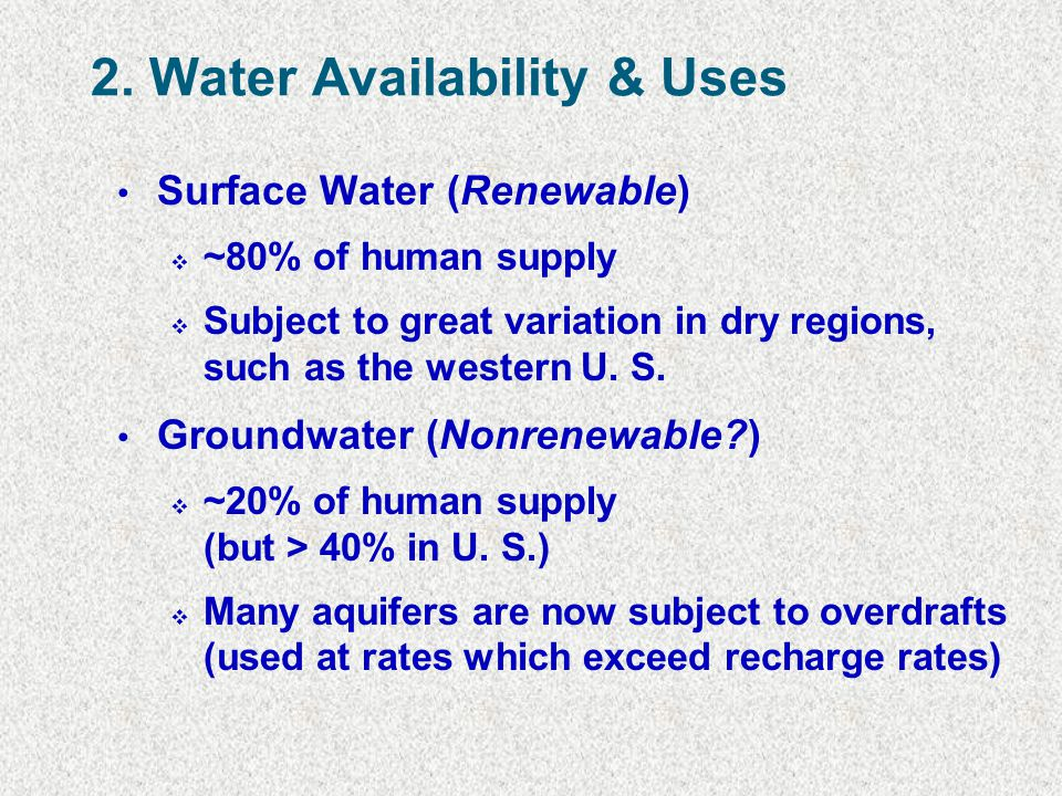2. Water Availability & Uses