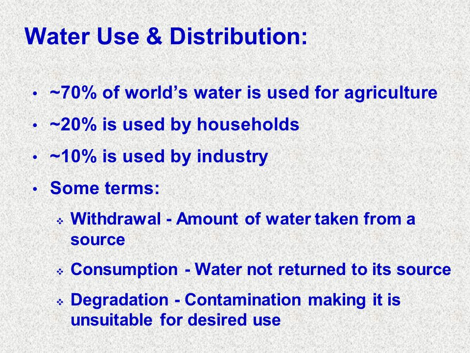 Water Use & Distribution: