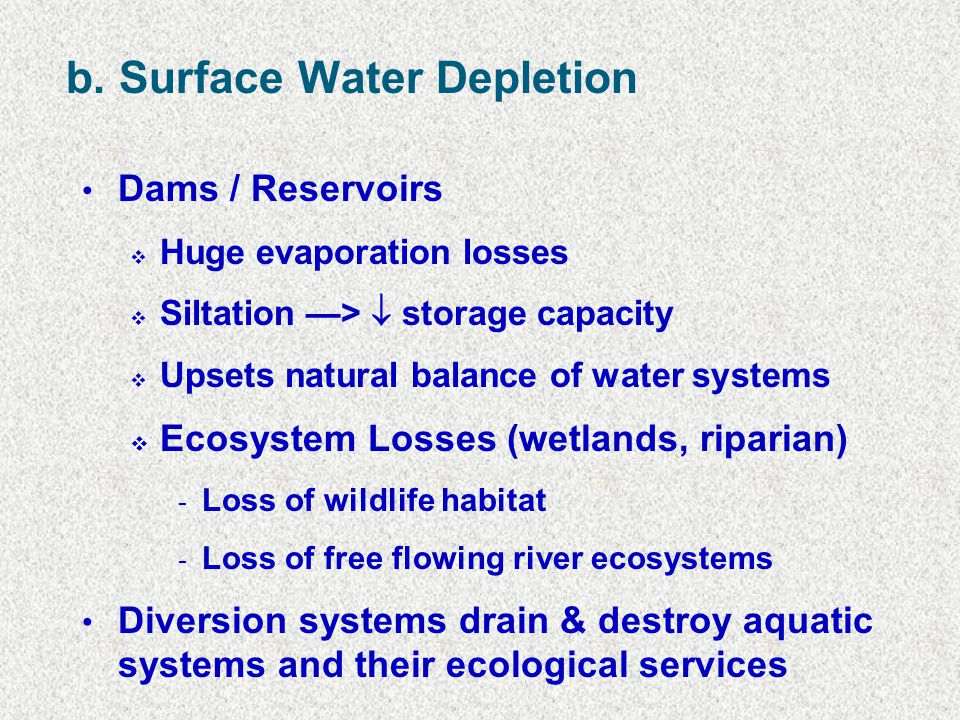 b. Surface Water Depletion