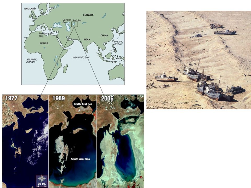 The Aral Sea is drying up and dying as a result of diversion of water for agriculture (courtesy of Philip P.
