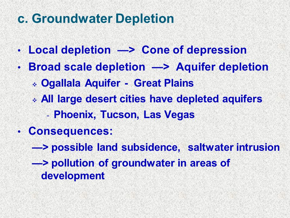 c. Groundwater Depletion