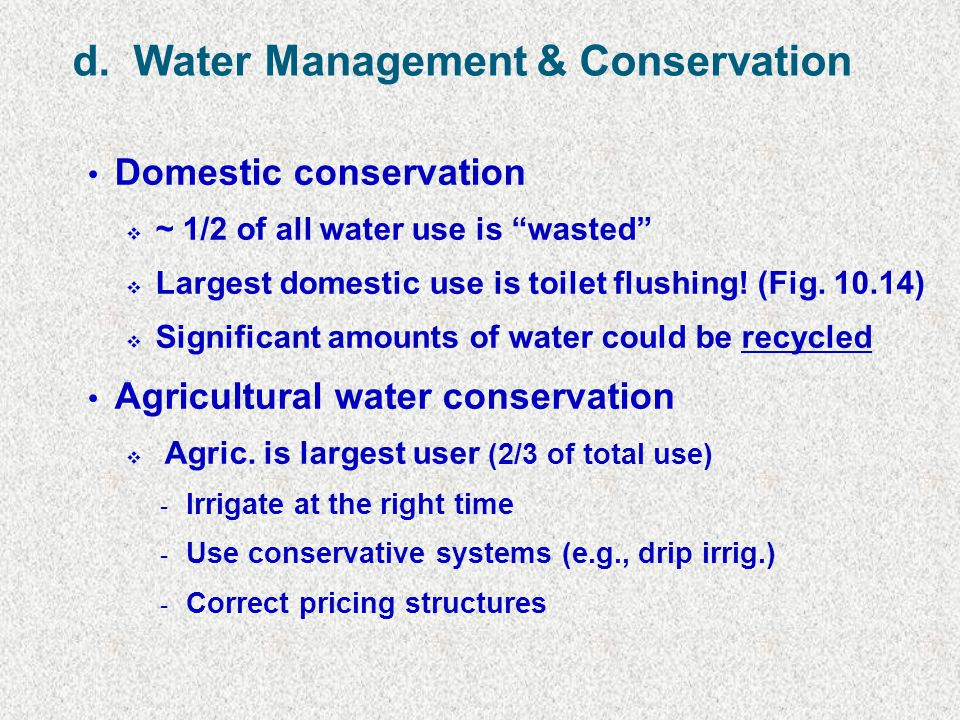 d. Water Management & Conservation