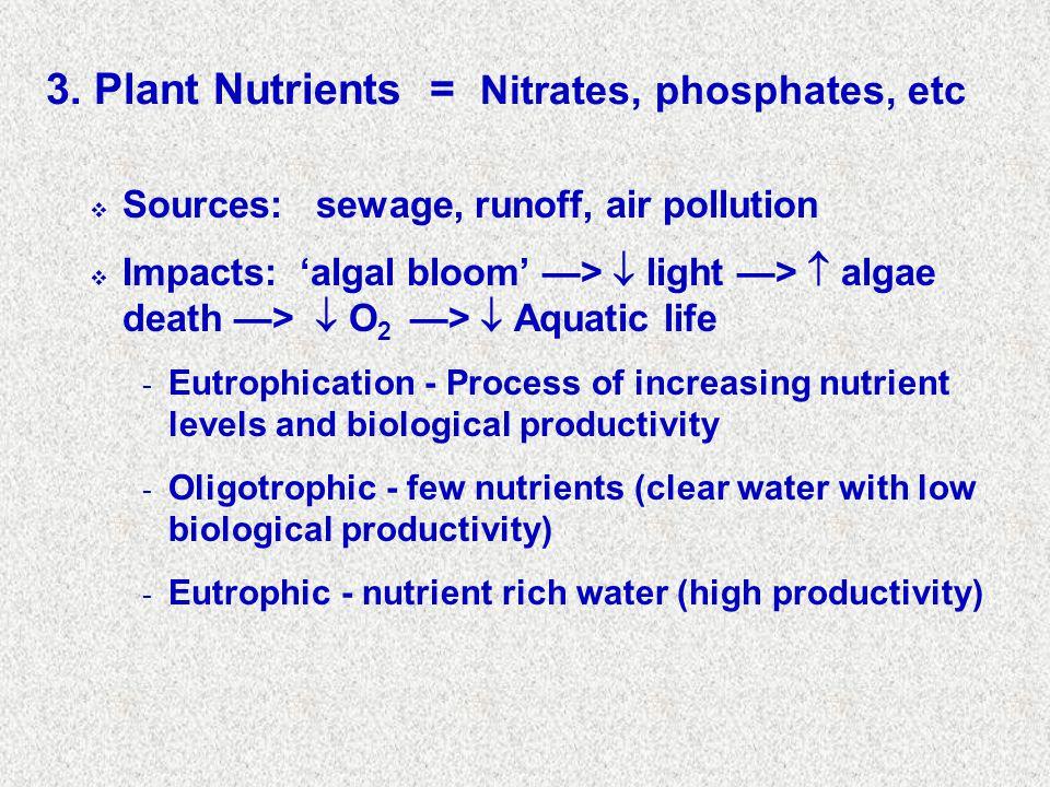 3. Plant Nutrients = Nitrates, phosphates, etc