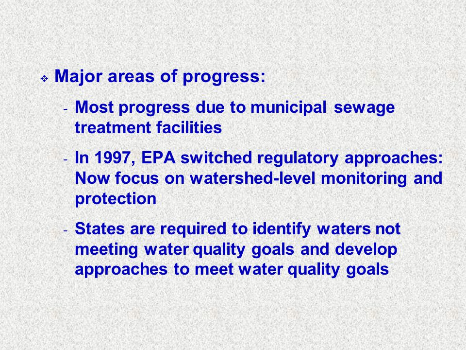 Major areas of progress:
