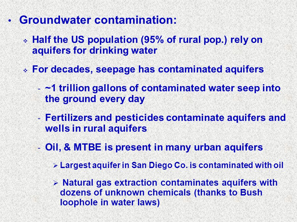 Groundwater contamination:
