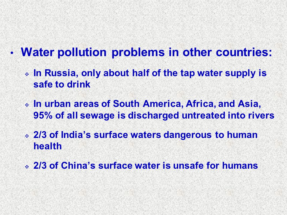Water pollution problems in other countries: