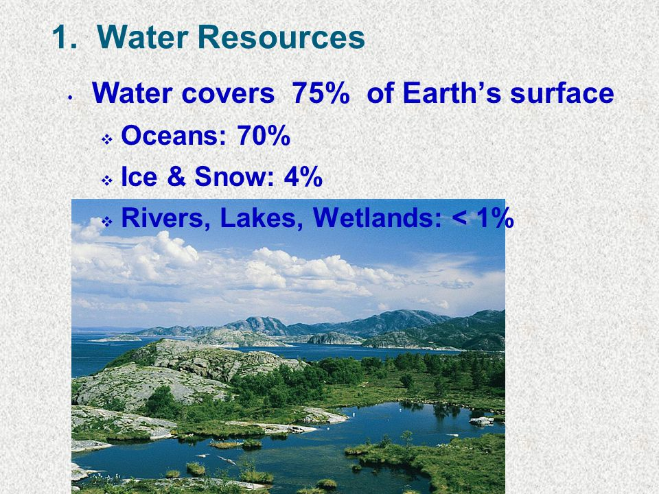 1. Water Resources Water covers 75% of Earth's surface Oceans: 70%