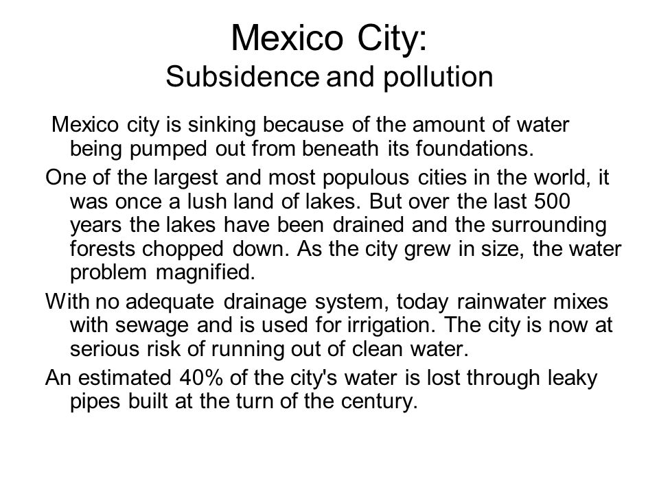 Mexico City: Subsidence and pollution