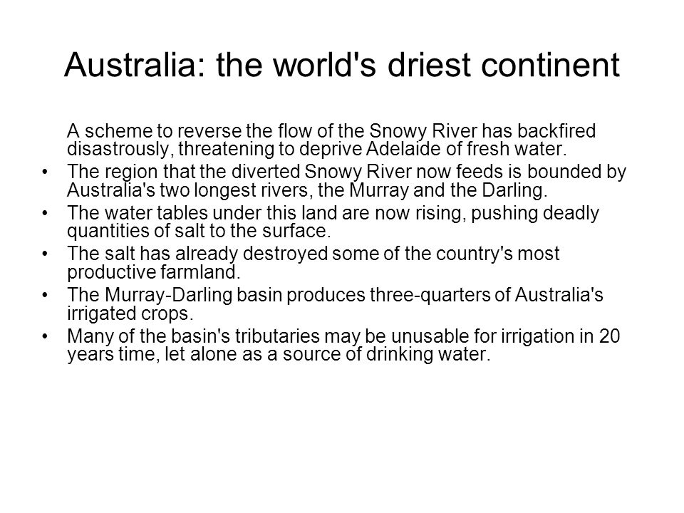 Australia: the world s driest continent