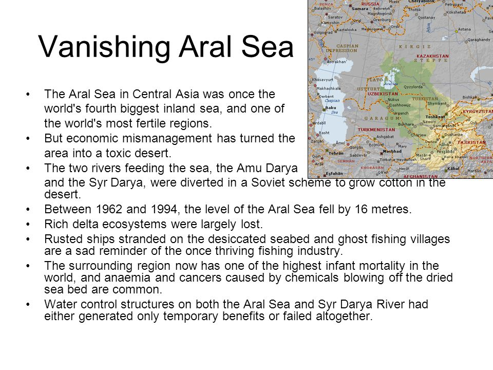 Vanishing Aral Sea The Aral Sea in Central Asia was once the