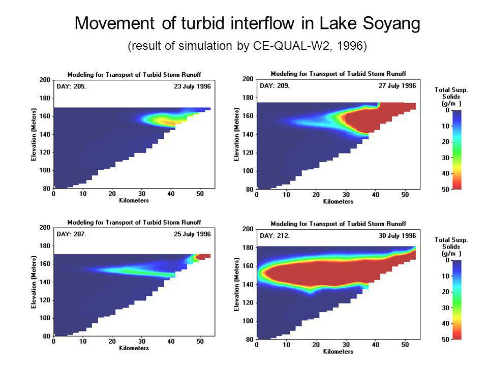 Movement of turbid interflow in Lake Soyang (result of simulation by CE-QUAL-W2, 1996)