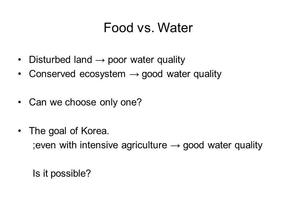 Food vs. Water Disturbed land → poor water quality