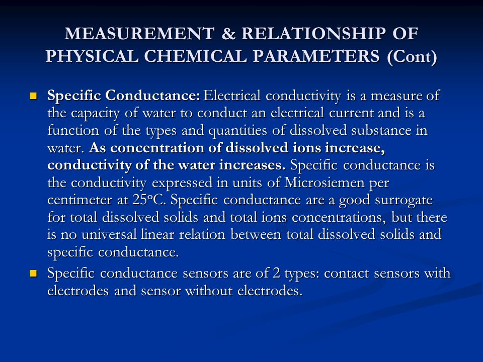 MEASUREMENT & RELATIONSHIP OF PHYSICAL CHEMICAL PARAMETERS (Cont)